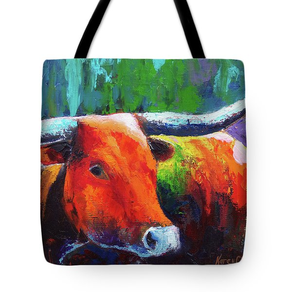 Tote Bag featuring the painting Longhorn Jewel by Karen Kennedy Chatham