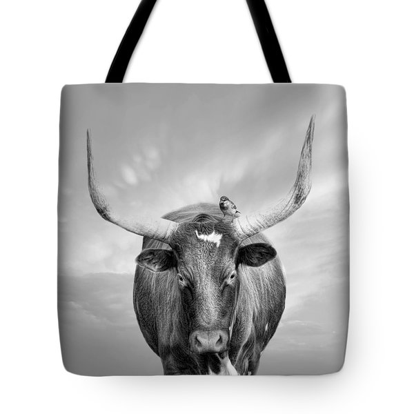 Tote Bag featuring the photograph Longhorn Respite by Robin-Lee Vieira