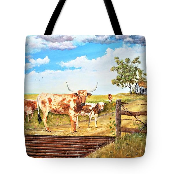 Longhorn Stand Off Your Place Or Mine Tote Bag