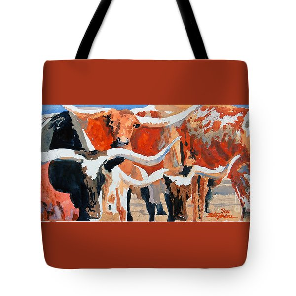 Longhorn Study #3 Tote Bag by Ron Stephens