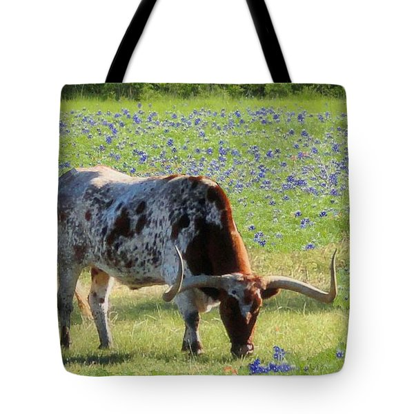 Longhorns In The Bluebonnets Tote Bag