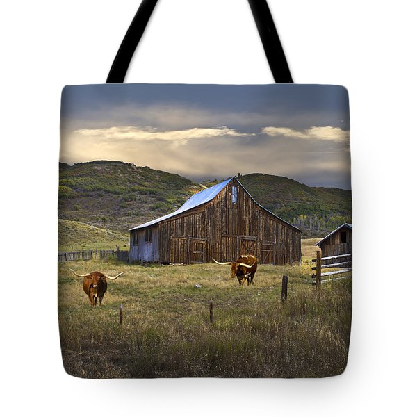 Tote Bag featuring the photograph Longhorns On The Road To Steamboat Lake by John Hix