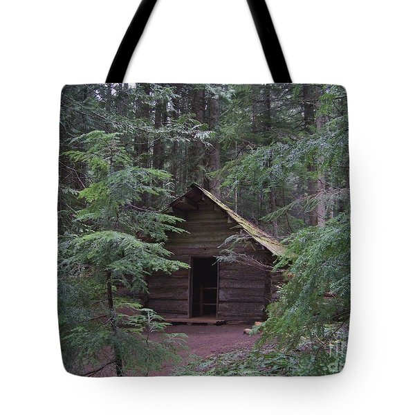 Tote Bag featuring the photograph Longmire Log Cabin by Charles Robinson
