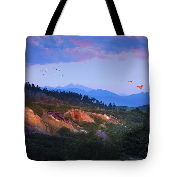 Longs Peak And Glowing Rocks Tote Bag