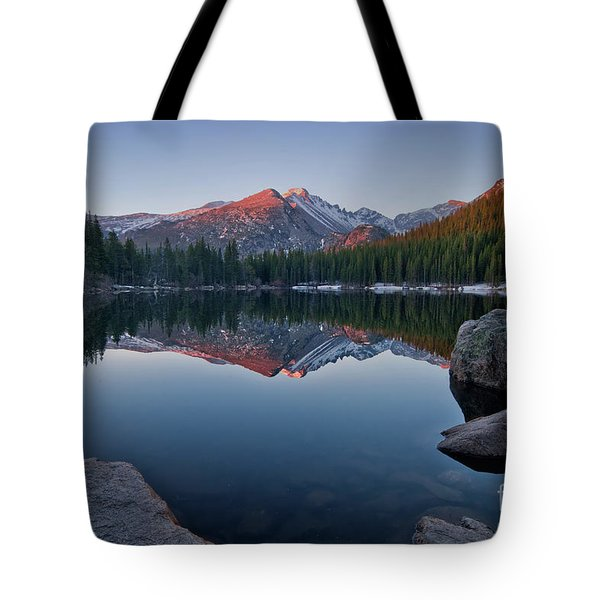 Longs Peak Reflection On Bear Lake Tote Bag