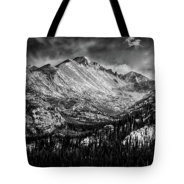 Longs Peak Rocky Mountain National Park Black And White Tote Bag