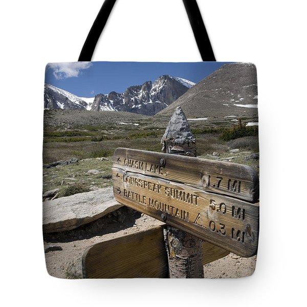 Longs Peak Seen From Chasm Lake Trail Tote Bag