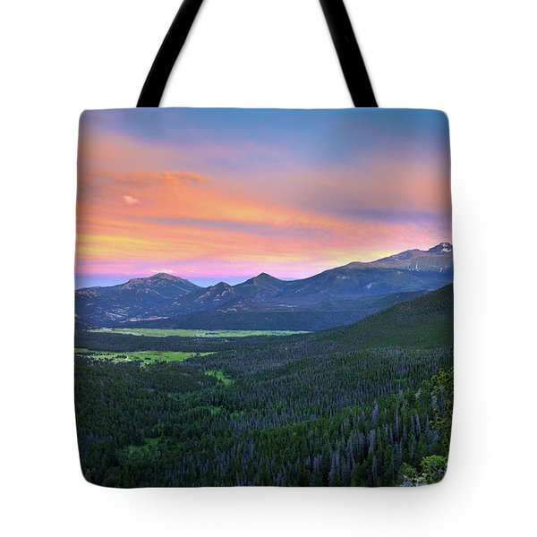 Tote Bag featuring the photograph Longs Peak Sunset by David Chandler