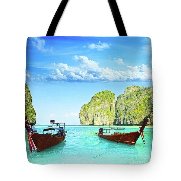 Longtail Boats At Maya Bay Tote Bag