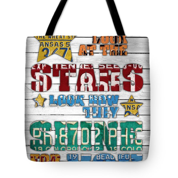 Look At The Stars Coldplay Yellow Inspired Typography Made Using Vintage Recycled License Plates V2 Tote Bag by Design Turnpike