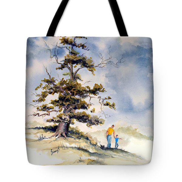 Tote Bag featuring the painting Look Dad by Sam Sidders