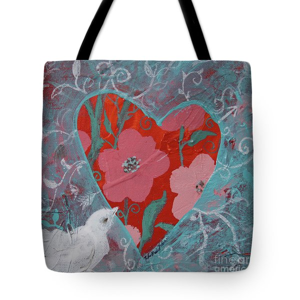 Tote Bag featuring the painting Look Into My Heart  by Robin Maria Pedrero