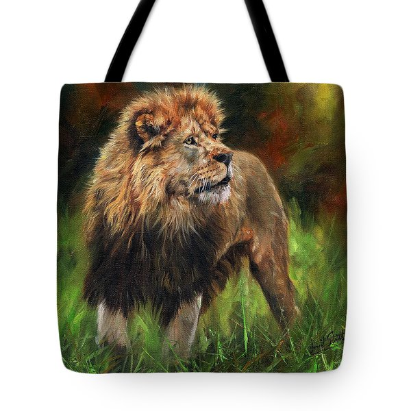 Tote Bag featuring the painting Look Of The Lion by David Stribbling