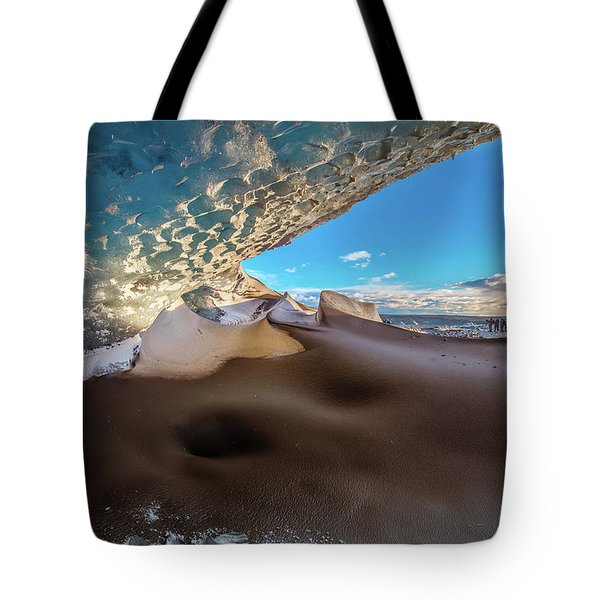 Look Out From Glacier Cave Tote Bag by Allen Biedrzycki