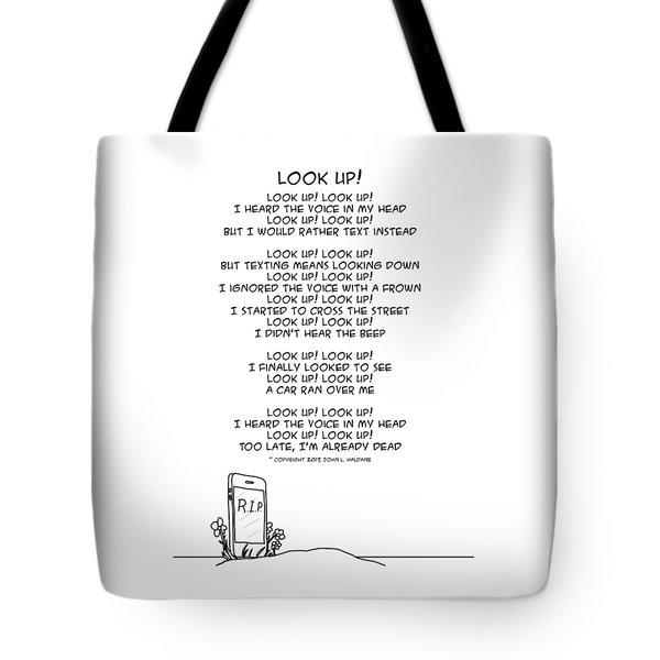 Tote Bag featuring the drawing Look Up by John Haldane