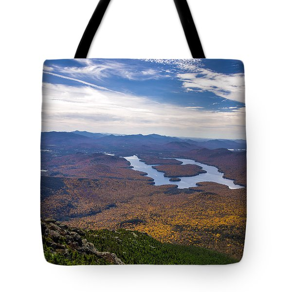 Lookin Down On Lake Placid Tote Bag by Mark Papke