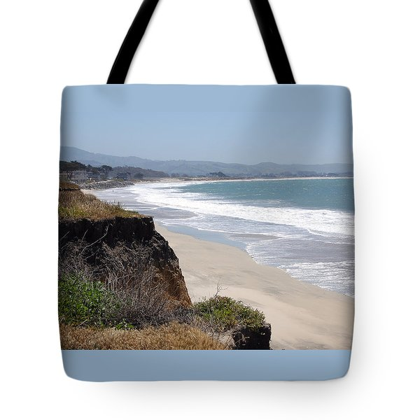 Looking Back At Half Moon Bay From The North Tote Bag by Carolyn Donnell