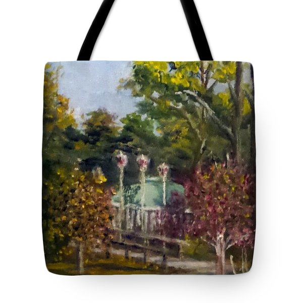 Tote Bag featuring the painting Looking Back At The Vietnam Memorial by Jim Phillips