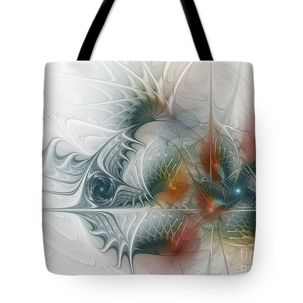 Tote Bag featuring the digital art Looking Back by Karin Kuhlmann