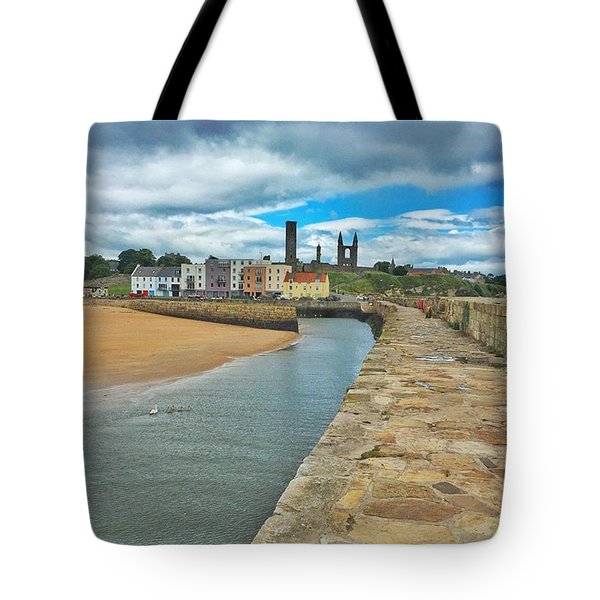 Looking Back To The St Andrews Skyline Tote Bag