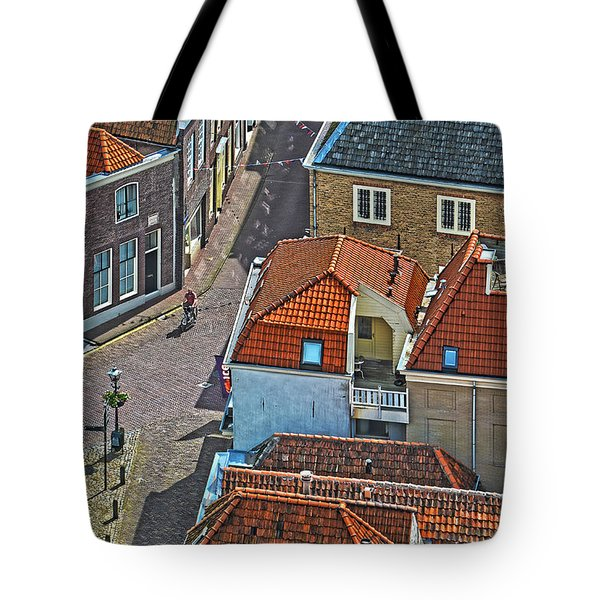 Looking Down From The Church Tower In Brielle Tote Bag by Frans Blok