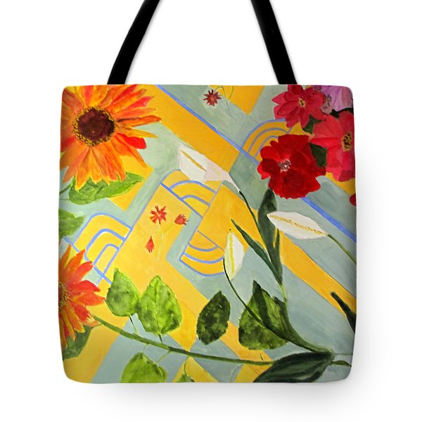Tote Bag featuring the painting Looking Down On The Flowers On The Tile Floor by Sandy McIntire
