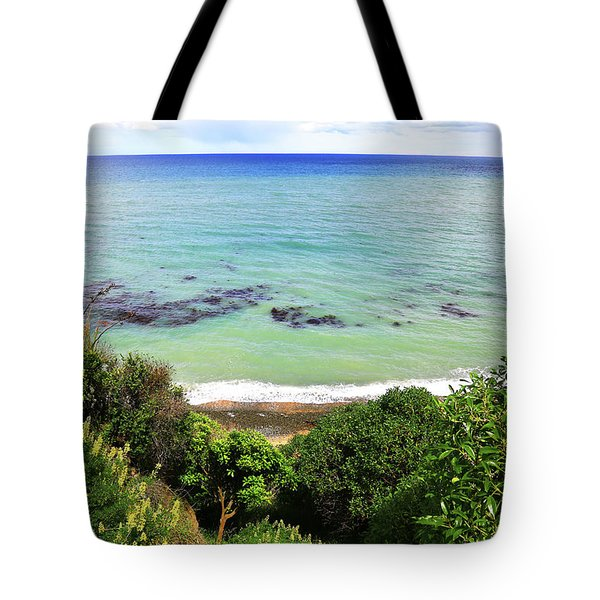 Tote Bag featuring the photograph Looking Down To The Beach by Nareeta Martin