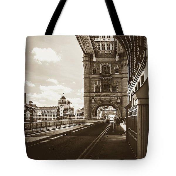 Tote Bag featuring the photograph Looking Down Tower Bridge London by Jacek Wojnarowski