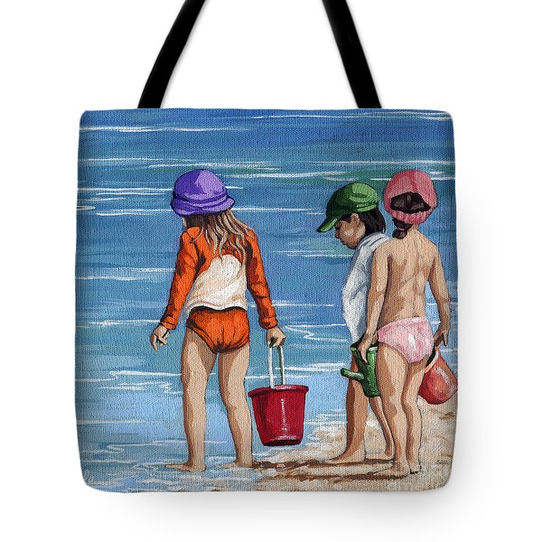 Looking For Seashells Children On The Beach Figurative Original Painting Tote Bag