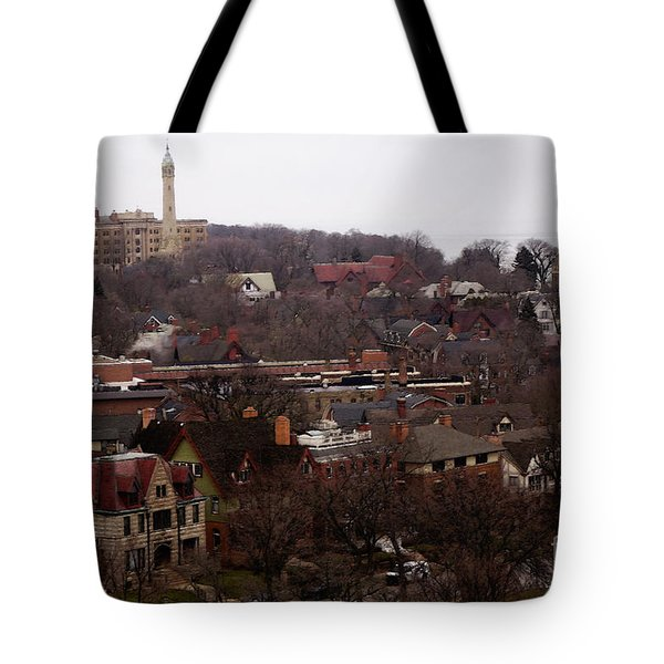 Tote Bag featuring the digital art Looking North From  Lafayette And Summit. by David Blank