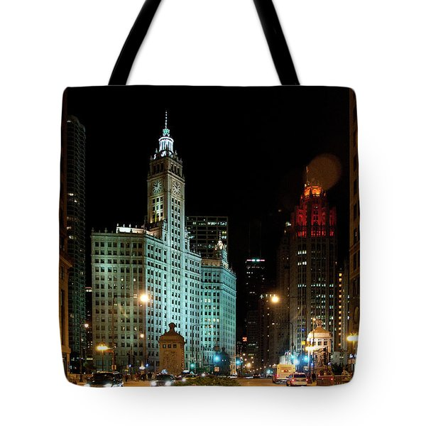 Looking North On Michigan Avenue At Wrigley Building Tote Bag