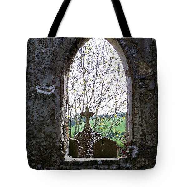 Looking Out Fuerty Church Roscommon Ireland Tote Bag