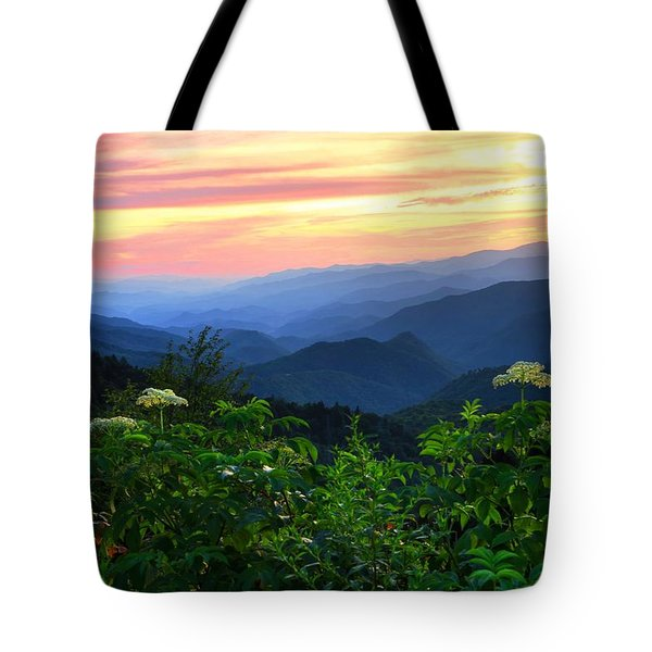 Looking Out Over Woolyback On The Blue Ridge Parkway  Tote Bag
