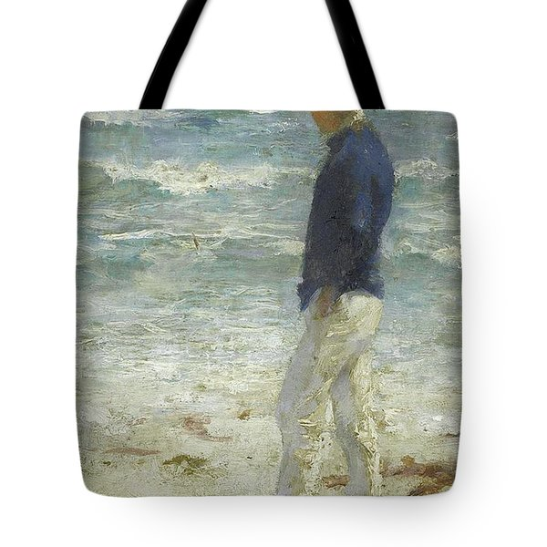 Tote Bag featuring the painting Looking Out To Sea by Henry Scott Tuke