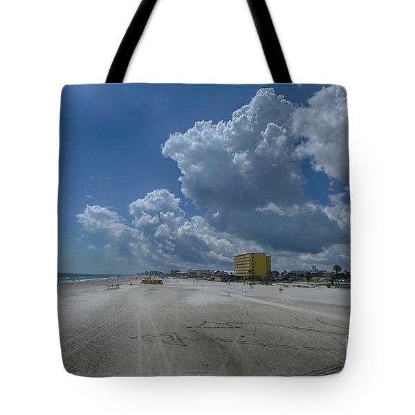 Looking Toward Daytona Beach Shores Tote Bag by Judy Hall-Folde