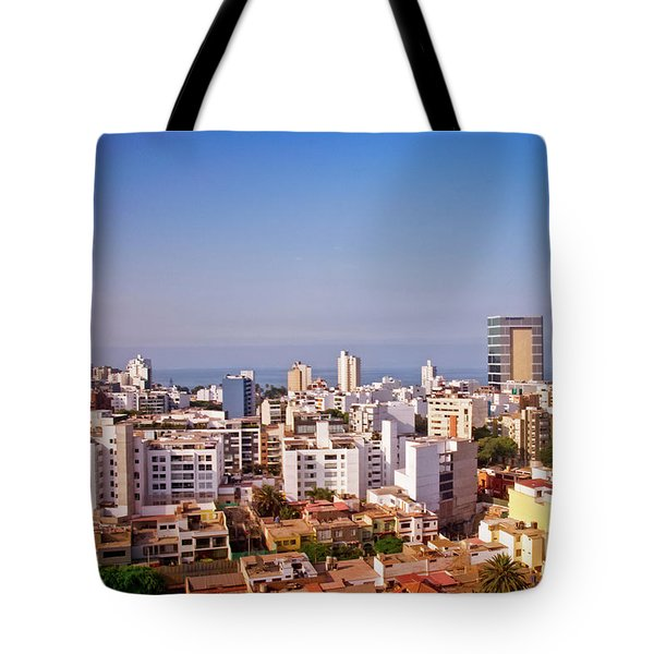 Tote Bag featuring the photograph Looking Towards The Sea - Miraflores by Mary Machare
