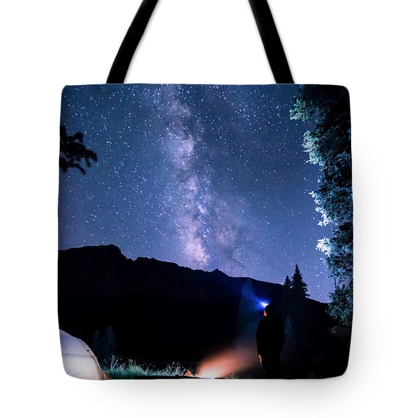 Looking Up At Milky Way Tote Bag
