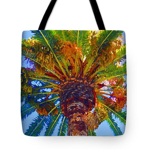 Looking Up At Palm Tree  Tote Bag