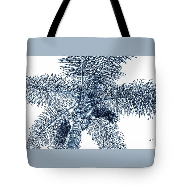 Tote Bag featuring the photograph Looking Up At Palm Tree Blue by Ben and Raisa Gertsberg