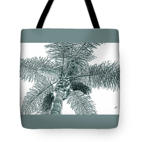 Tote Bag featuring the photograph Looking Up At Palm Tree Green by Ben and Raisa Gertsberg