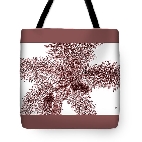 Tote Bag featuring the photograph Looking Up At Palm Tree Red by Ben and Raisa Gertsberg
