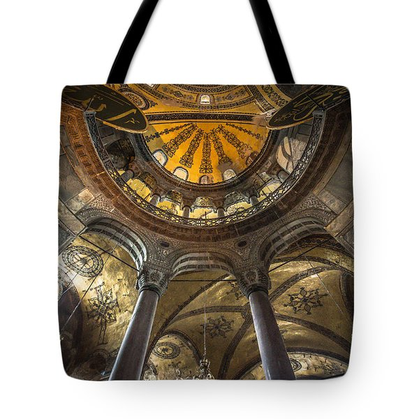 Looking Up At The Aya Sofia Ceiling Tote Bag