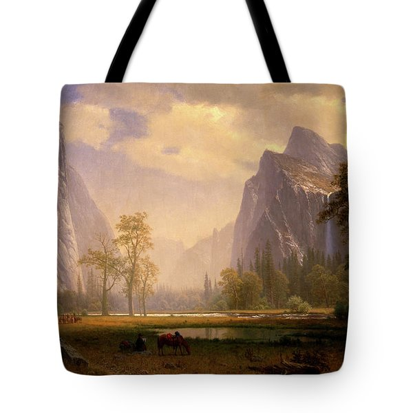 Looking Up The Yosemite Valley  Tote Bag