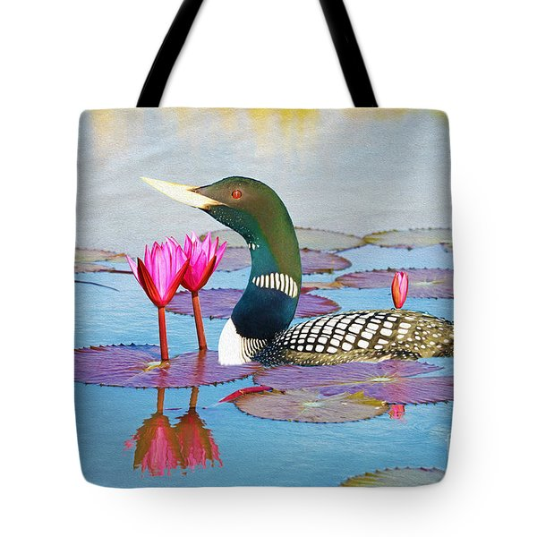 Loon And Lotus Tote Bag