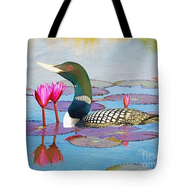 Loon And Lotus Tote Bag