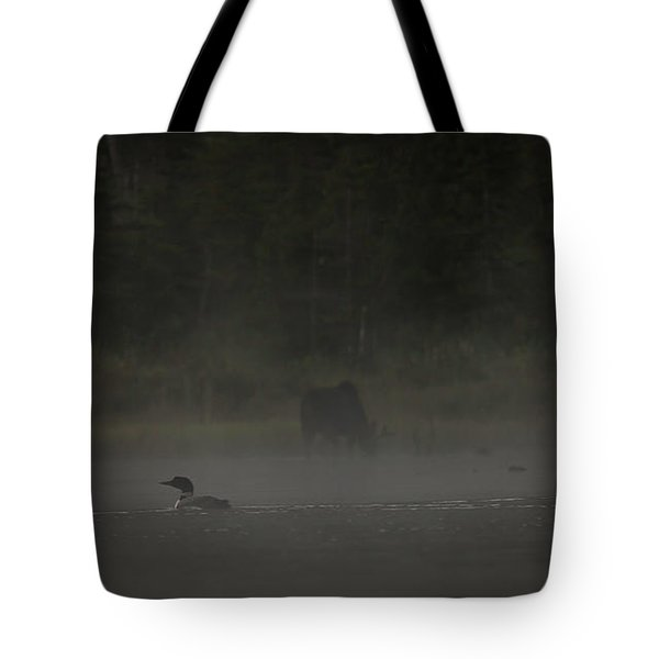Loon And Moose In The Mist Tote Bag