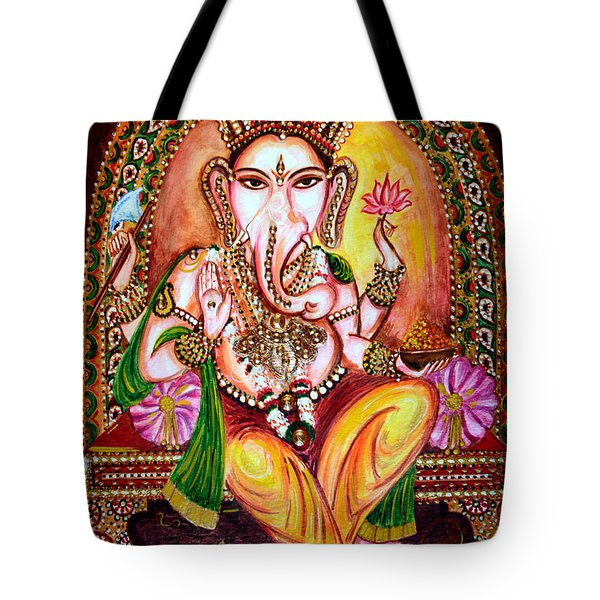 Tote Bag featuring the painting Lord Ganesha by Harsh Malik