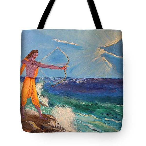 Tote Bag featuring the painting Lord Sriram - The Handsome Hindu God Incarnation by Geeta Biswas