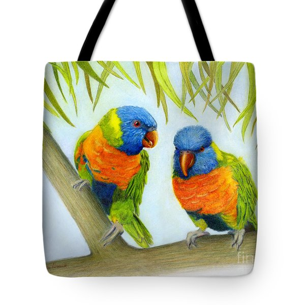 Tote Bag featuring the painting Lorikeet Pair by Phyllis Howard