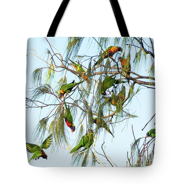 Lorikeets Swarming From Tree To Tree Tote Bag